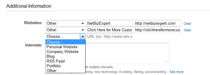 adding websites using default settings